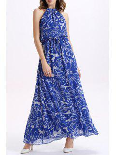 Metallic Neckline Drawstring Maxi Dress - Blue M