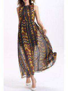 Chevron Stripe Patchwork Chiffon Dress - M