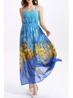 Strappy Back Summer Chiffon Dress - Blue M