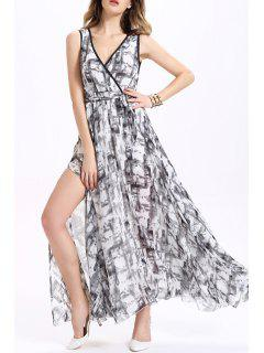 Printed Maxi Chiffon Dress - Xl