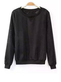 Loose Lace Spliced Round Neck Long Sleeve Sweatshirt - Black S