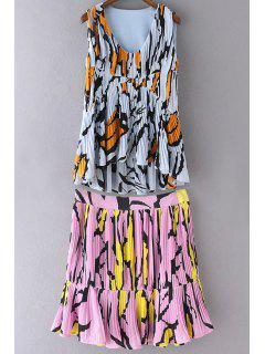 Colorful Printed High Waist A-Line Skirt And High-Low V Neck Tank Top - Pink L