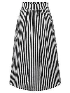 Striped High Waist A-Line Skirt - Black M