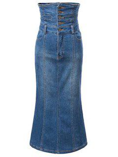 Bleach Wash High Waist A-Line Mermaid Denim Skirt - Blue S