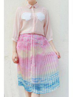 Ombre Color High Neck Chiffon Skirt - L