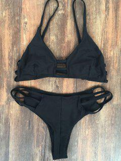 Spaghetti Straps Elastic Solid Color Bikini Set - Black M