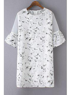 Ink Print Round Robe Manches Papillon Cou - Blanc S