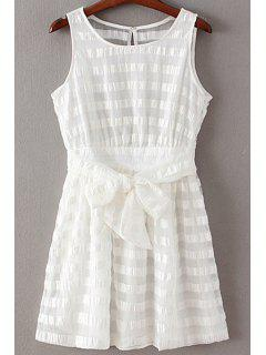 See-Through Bowknot Col Rond Robe Sans Manches - Blanc S