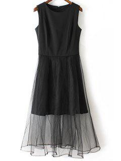 Negro Gasa Empalmado Redondo Vestido Sin Mangas Del Cuello - Negro L