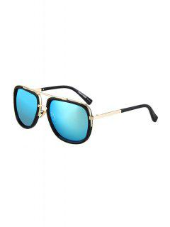 Alloy Match Quadrate Frame Sunglasses - Ice Blue