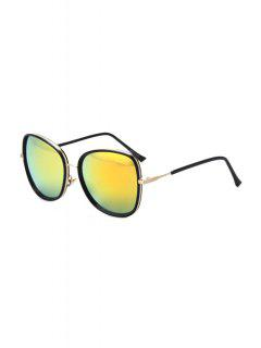 Alloy Match Black Big Frame Sunglasses - Golden