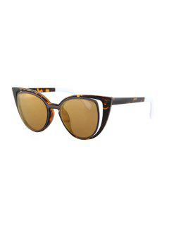 Hollow Out Frame Flecky Sunglasses - Light Brown