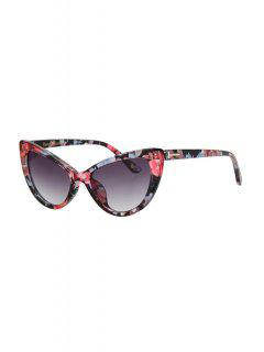 Letter T Shape Inlay Flower Sunglasses - Red