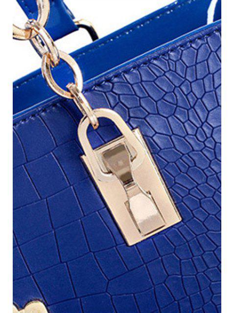 Sac à épaule imprimé crocodile avec lettre métallique - Lait Blanc  Mobile