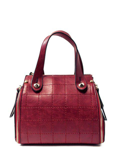 women's Grid Stitching PU Leather Tote Bag -   Mobile