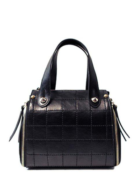 womens Grid Stitching PU Leather Tote Bag -   Mobile