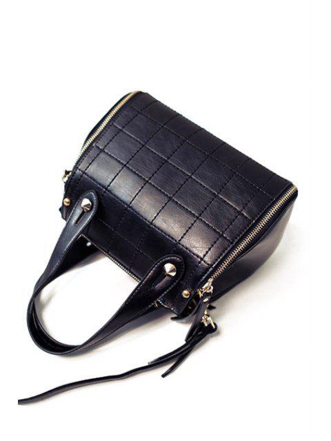 Grille Stitching PU cuir sac fourre-tout - Noir  Mobile