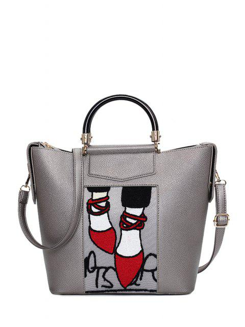 outfit Print Splicing PU Leather Tote Bag -   Mobile