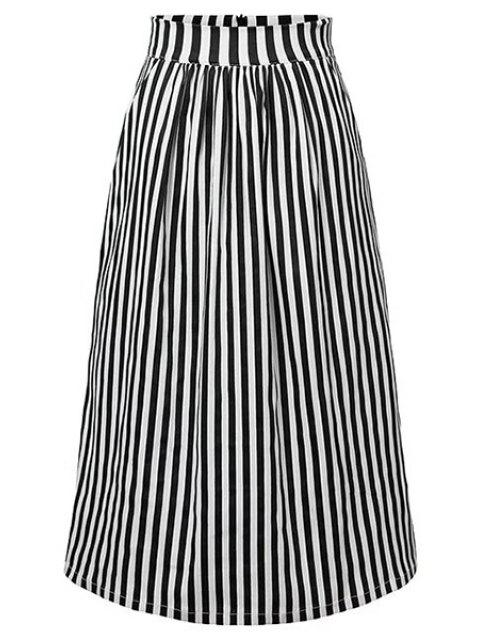 ladies Striped High Waist A-Line Skirt - BLACK S Mobile