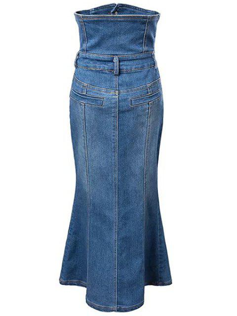 new Bleach Wash High Waist A-Line Mermaid Denim Skirt - BLUE L Mobile