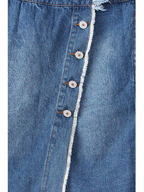 women's Ripped Single-Breasted High Waist A-Line Denim Skirt - BLUE L Mobile