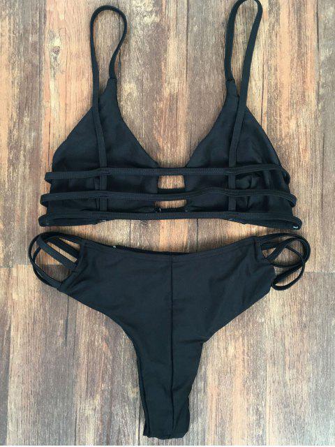 shop Spaghetti Straps Elastic Solid Color Bikini Set - BLACK XL Mobile
