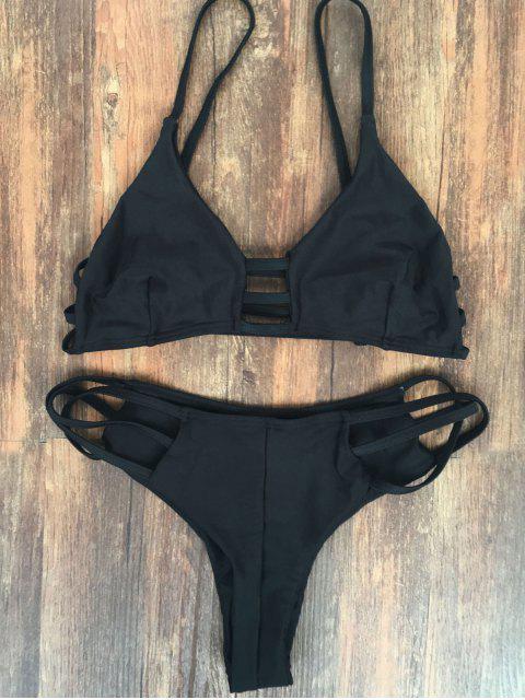 outfit Spaghetti Straps Elastic Solid Color Bikini Set - BLACK M Mobile