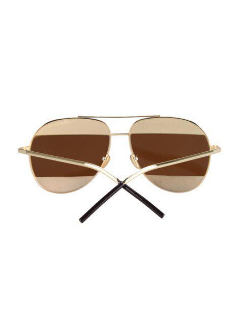 ladies Irregular Lenses Golden Alloy Sunglasses - TEA-COLORED  Mobile