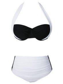 Drawstring Color Block Halter Bikini Set - Blanc L