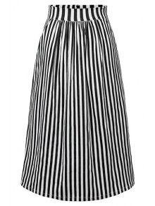 Rayé Taille Haute Jupe - Noir M