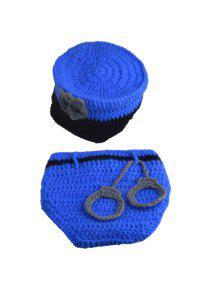 مجموعة من أزياء الشرطي نمط الحياكة الدعائم الملابس قبعة للتصوير الفوتوغرافي الطفل - أزرق