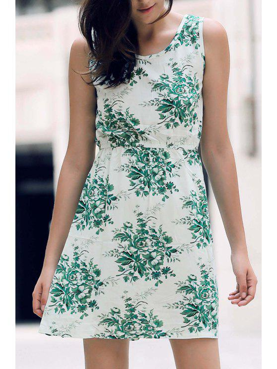 fancy Printed Waisted Mini Dress - WHITE AND GREEN XL