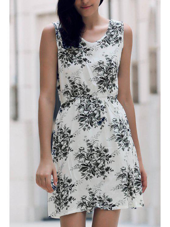 latest Printed Waisted Mini Dress - DUN XL