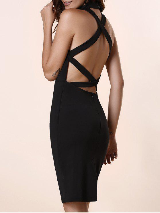 latest Black Hollow Out Round Neck Sleeveless Dress - BLACK S