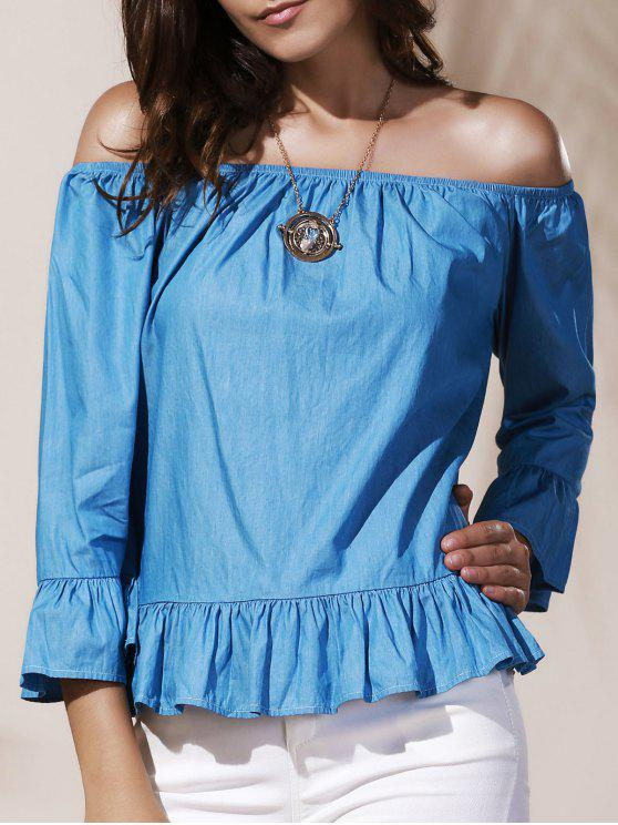 fashion Off Shoulder Ruffle Peplum Blouse - AZURE S