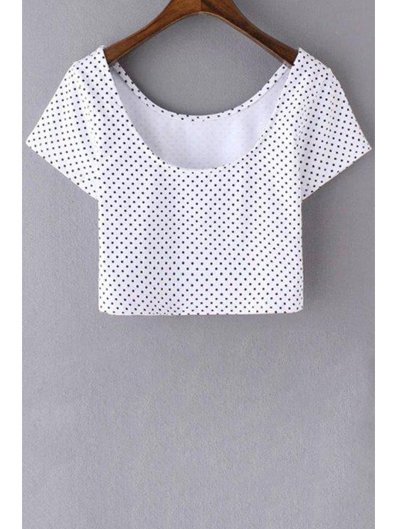 hot Polka Dot Scoop Neck Short Sleeve Cropped T-Shirt - WHITE S