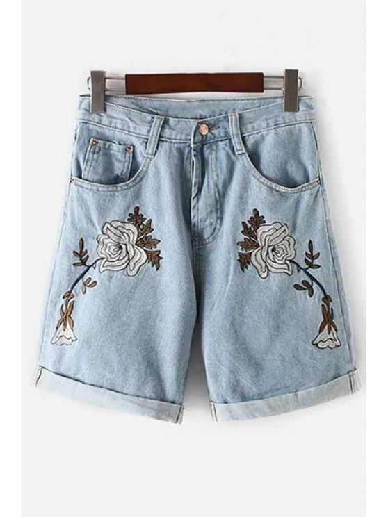 buy Floral Embroidery High Waisted Denim Shorts - LIGHT BLUE S