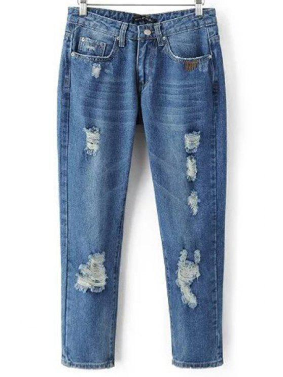 best Ripped Pockets Bleach Wash Jeans - DENIM BLUE L