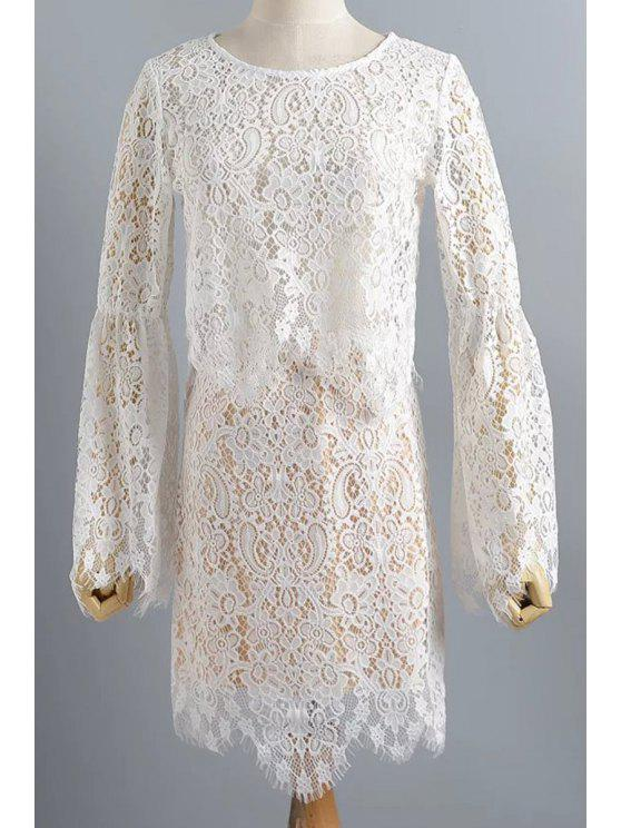 4cd76cb0539 Wavy Cut Crochet Flower Lace Crop Top And Skirt White S