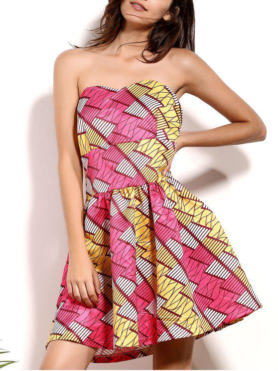 Geométrica de impresión sin tirantes de una línea vestido - Colormix M