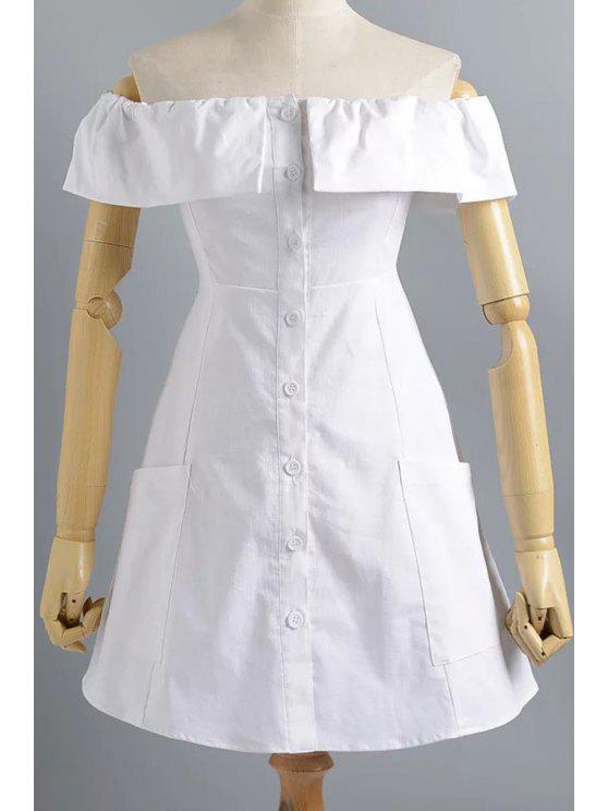 Vestido Fuera del Hombro con Cierre Frontal de Botones - Blanco S