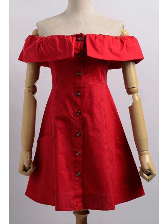 Robe à épaules dénudées à fermeture de bouton devant - Rouge L