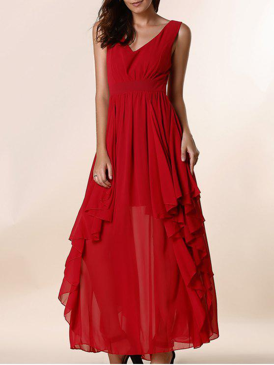 Maxi Vestido Formal con Cuello en V con Volantes - Rojo L