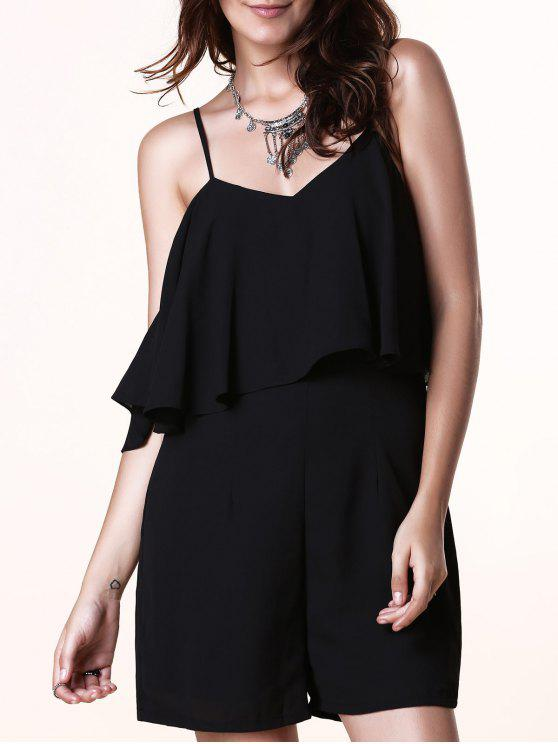 fancy Spaghetti Strap Flouncing Romper - BLACK L