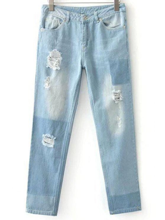 outfits Ripped Casual Pockets Ombre Jeans - LIGHT BLUE M