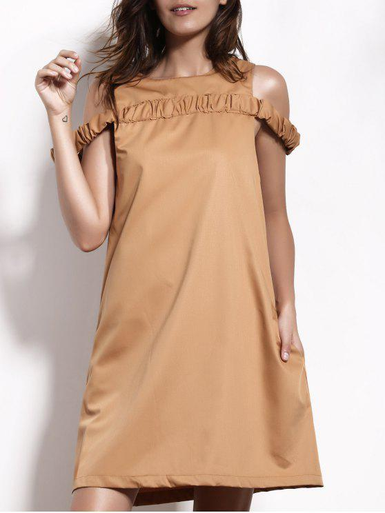 Jewel Neck Camel Robe droite - Camel 2XL