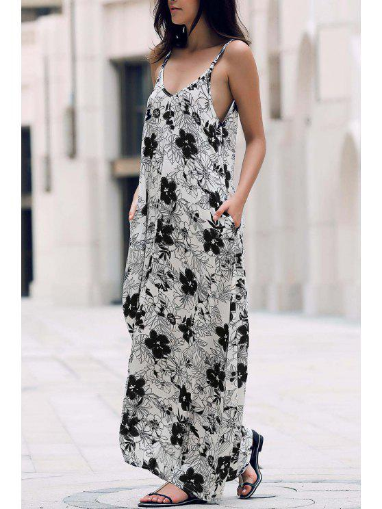 womens Low Cut Maxi Strap Long Tunic Dress - WHITE ONE SIZE(FIT SIZE XS TO M)