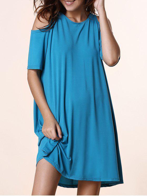 unique Solid Color Round Neck Short Sleeve Cold Shoulder Dress - BLUE M