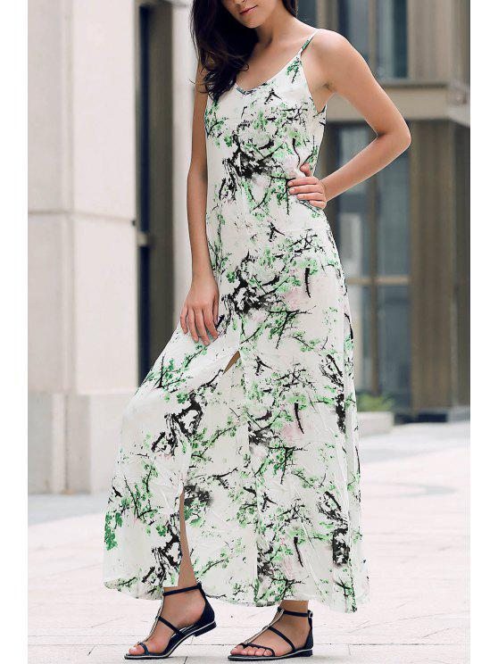 women's Front Slit Maxi Strap Dress - WHITE S