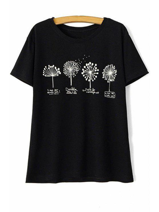 Diente de león Imprimir cuello redondo manga corta de la camiseta - Negro L